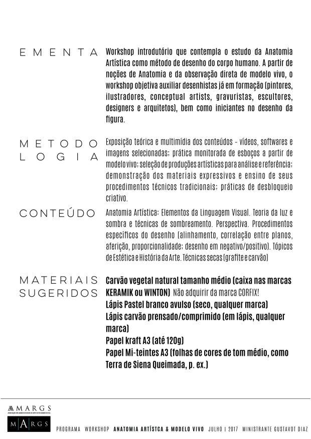 PROGRAMA Workshop Anatomia artística, 2017, II MARGS